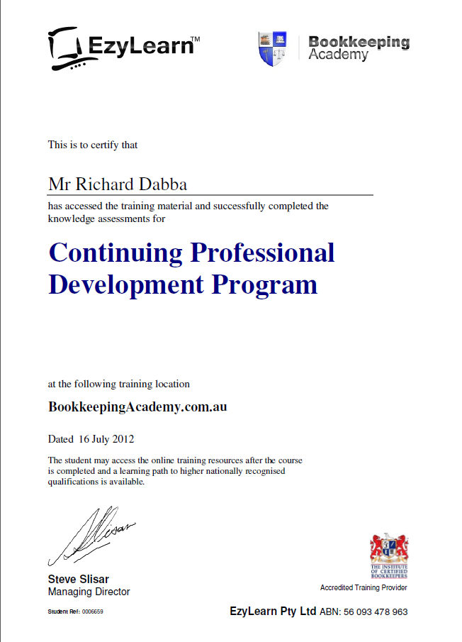 EzyLearn Bookkeeping Academy Certificate for CPD and MYOB training courses and support
